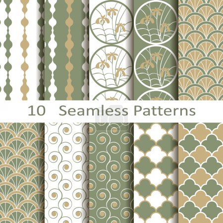 Illustration for Set of ten vector seamless patterns - Royalty Free Image