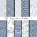 Set of ten vector Japanese patterns...