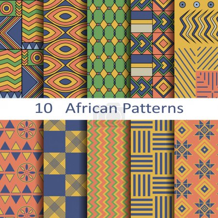 Illustration for Set of ten vector African patterns - Royalty Free Image