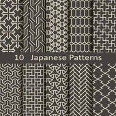 Set of ten vector Japanese patterns
