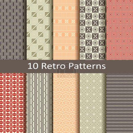 Set of ten retro patterns