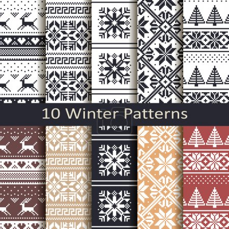 Set of ten winter patterns
