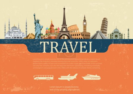 Illustration for Colorful background of the most famous places on the planet - Royalty Free Image