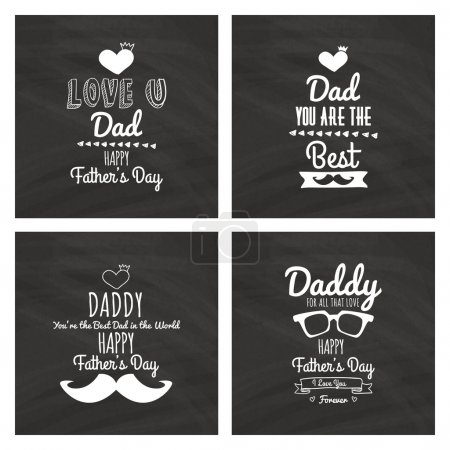 Illustration for Set of black backgrounds with icons and text for fathers day - Royalty Free Image