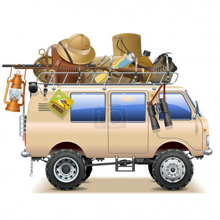 Illustration for Vector Travel Car with Safari Accessories isolated on white background - Royalty Free Image