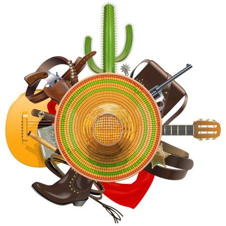 Vector Cowboy Concept with Sombrero