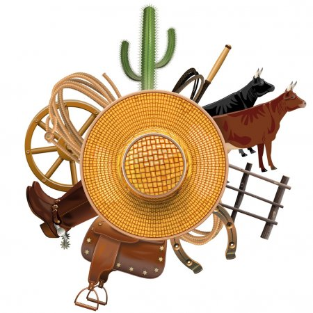 Vector Cowboy Ranch Concept with Straw Hat