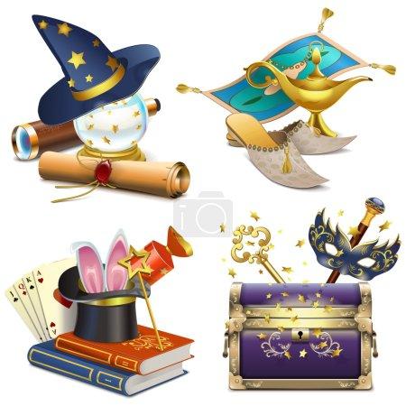 Illustration pour Icônes Vector Magic Concept isolées sur fond blanc - image libre de droit