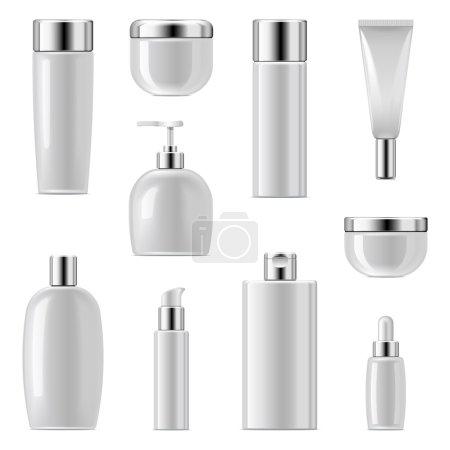 Illustration pour Icônes d'emballage cosmétique vectoriel Set 2 isolé sur fond blanc - image libre de droit