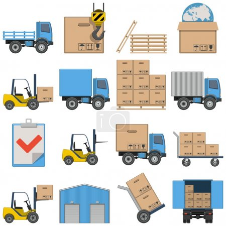 Illustration for Vector Flat Icons - Shipping isolated on white background - Royalty Free Image