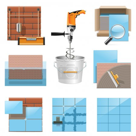 Vector Laying Tiles Icons