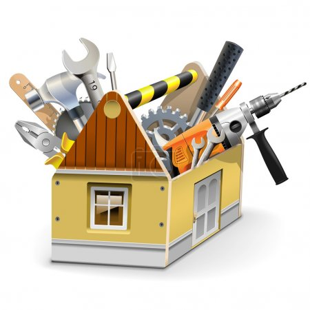 Illustration for Vector House Toolbox isolated on white background - Royalty Free Image