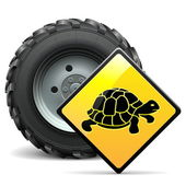 Vector Tractor Wheel with Sign