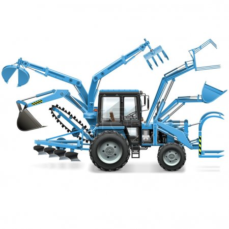 Illustration for Vector Multi Tractor isolated on white background - Royalty Free Image
