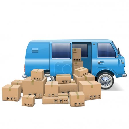 Illustration for Vector Delivery Minivan isolated on white background - Royalty Free Image