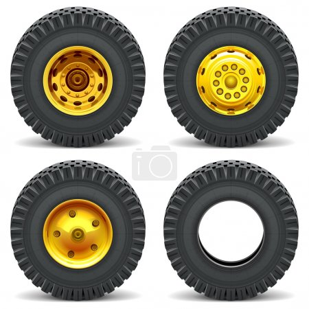 Illustration for Vector Construction Machines Wheels isolated on white background - Royalty Free Image