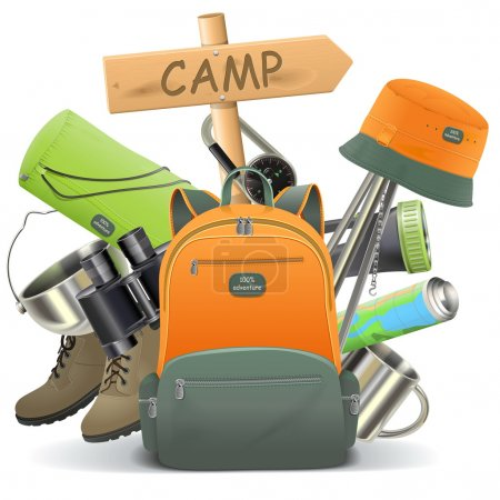 Illustration for Vector Camping Concept with Backpack isolated on white background - Royalty Free Image