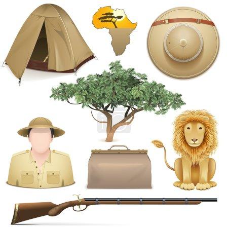 Illustration for Vector Safari Icons Set isolated on white background - Royalty Free Image