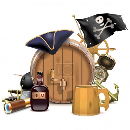 Vector Pirate Bar Concept isolated on white backgr...