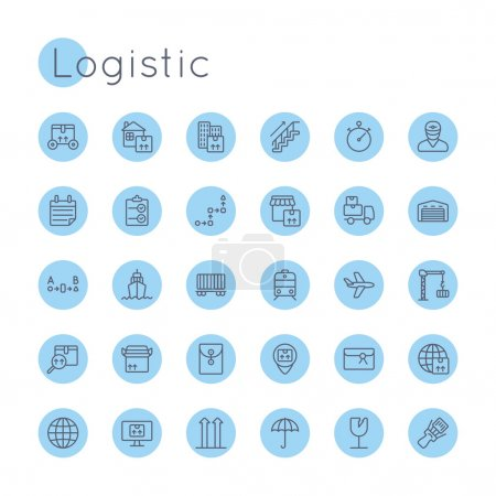 Illustration for Vector Round Logistic Icons isolated on white background - Royalty Free Image