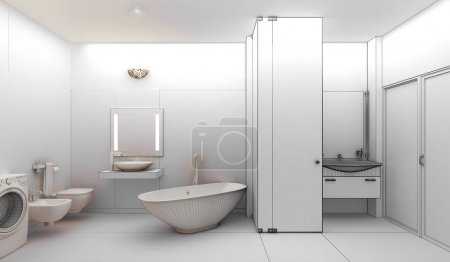 rendering 3D of a modern bathroom interior design