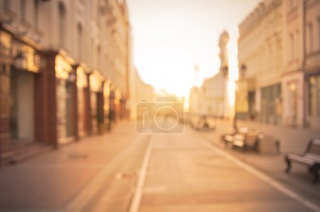 Photo for Beautiful street in the historical city center at sunrise time. - Royalty Free Image