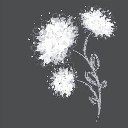 Illustration pour Trois formes de fleurs sur fond sombre. Illustration vectorielle . - image libre de droit