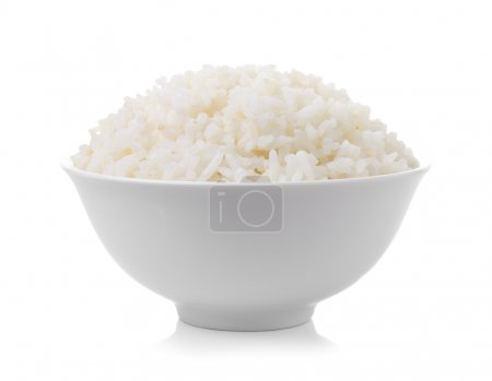 Photo for Bowl full of rice on white background - Royalty Free Image