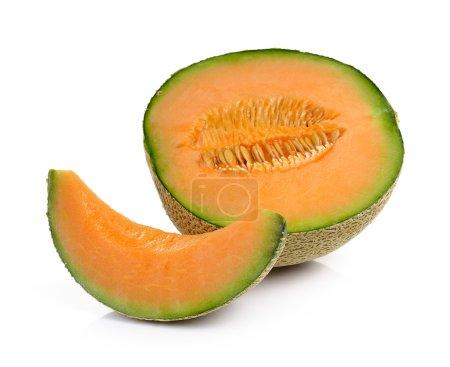 Photo pour Melon cantaloup isolé sur fond blanc - image libre de droit