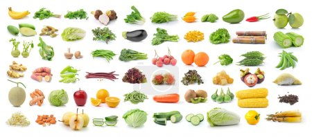 Photo for Set of fruit and vegetable on white background - Royalty Free Image