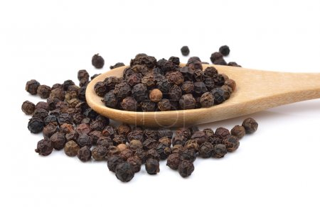 Photo for Black pepper in wooden spoon on white background. - Royalty Free Image