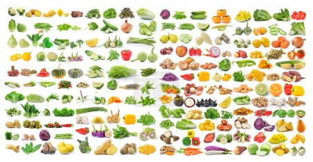 Photo for Set of vegetable and fruit isolated on white background - Royalty Free Image