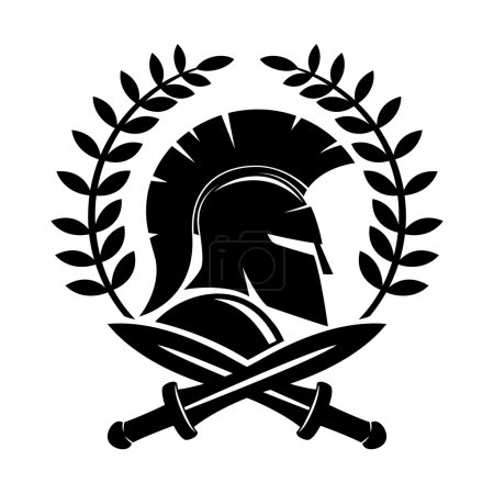 Spartan helmet and crossed swords