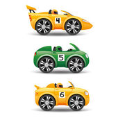 Racing cars on a white background