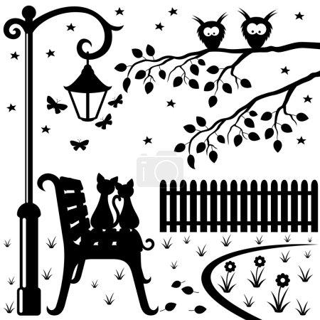 Illustration pour Deux chats assis sur un banc de parc sous un lampadaire . - image libre de droit