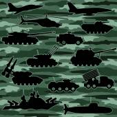 Vector seamless background Military equipment Camouflage