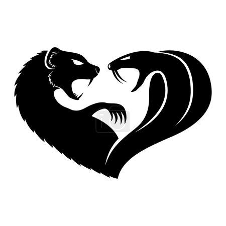 Illustration pour Signe vectoriel isolé sur blanc. Mongouste et cobra . - image libre de droit