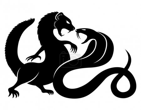 Vector sign isolated on white. Mongoose and cobra....