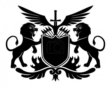 Illustration for Vector sign isolated on white background. Lions and shield. - Royalty Free Image