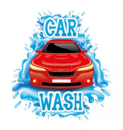 Illustration pour Panneau de lavage de voiture isolé sur fond blanc . - image libre de droit