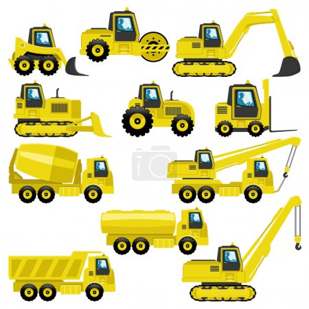 Vector set of  tractors and trucks isolated on whi...