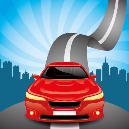 Illustration pour Illustration vectorielle de la voiture rouge sur la route . - image libre de droit