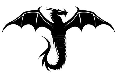 Black dragon on white.
