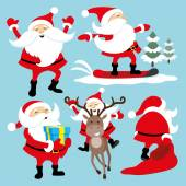 Vector set on blue background jolly Santa Claus