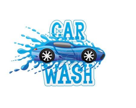 Illustration pour Panneau bleu lavage de voiture sur fond blanc - image libre de droit