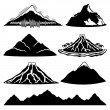Set of mountains, volcanoes and tropical island on...