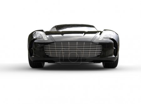Black luxury sports car on white background. Front view.