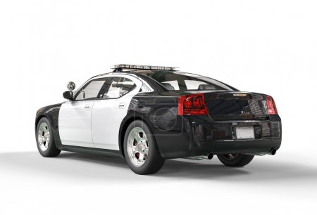 Police car without decals - tailside view