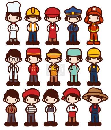 Character Cartoon in Various Job