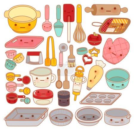 Illustration pour Collection de beaux outils et équipements de pâtisserie, rouleau à pâtisserie mignon, adorable poêle, doux mitaine Isolé sur blanc dans le style de dessin animé manga girly kawaii - Fichier vectoriel EPS10 - image libre de droit